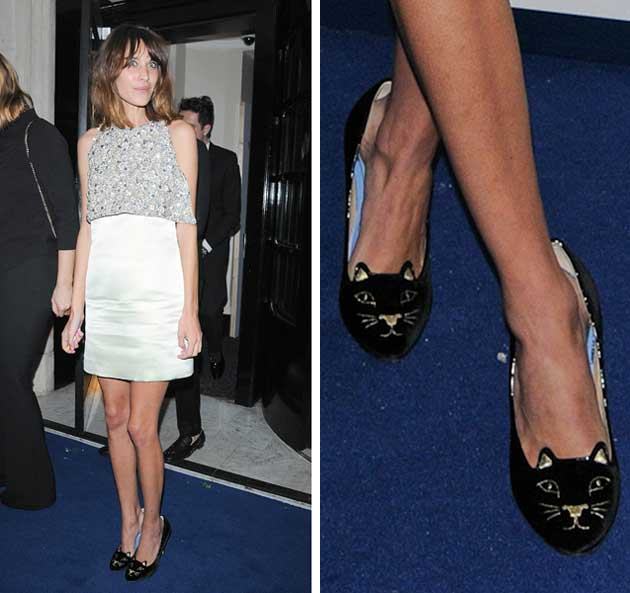 f1a8af79e680 Shoeperstar  Alexa Chung in Charlotte Olympia  Kitty  heels ...