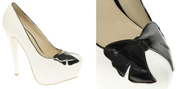 White platforms with black bow