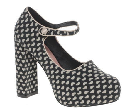 heart print mary janes