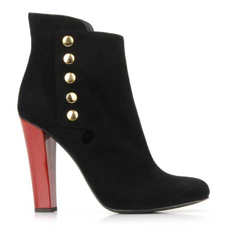 Black ankle boots with red heel