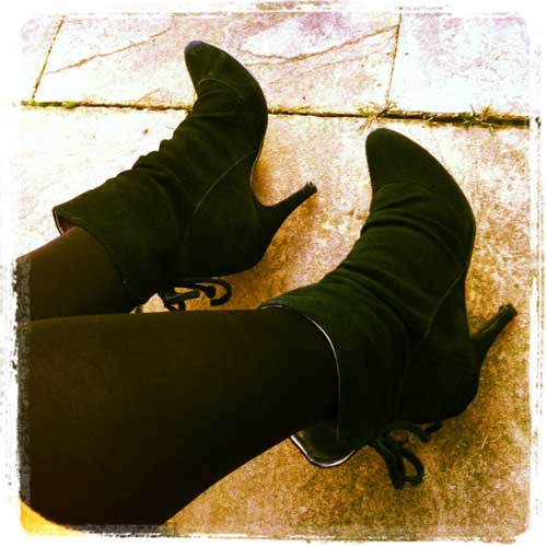 Black ankle boots with high heels