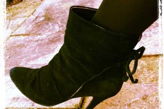 Black suede ankle boots with high heel