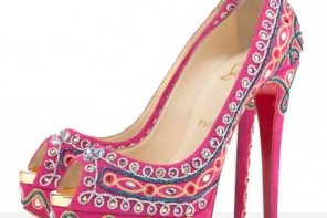 Christian Louboutin pink 'Bollywoody' peep toes
