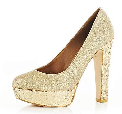 Gold glitter platform shoes