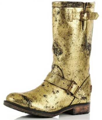 Gold mid-calf boots
