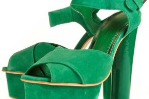 Topshop green suede podium platforms