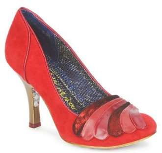 red suede shoes by Irregular Choice