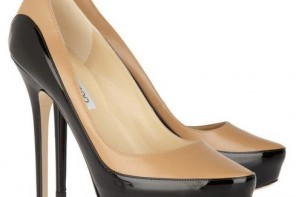 Jimmy Choo tan and black pumps