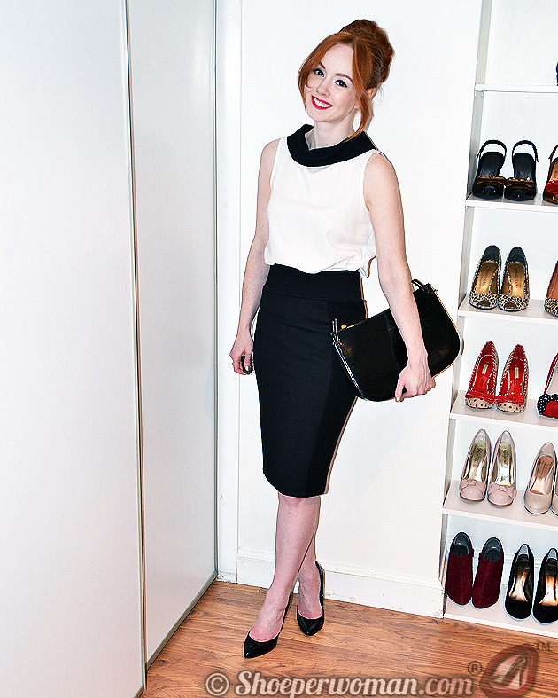 black pencil skirt and high heel shoes