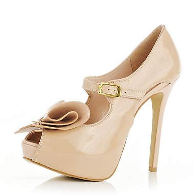 Light pink peep toe bow shoes
