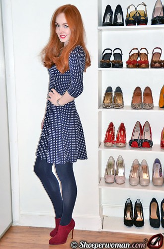 navy polka dot dress and red booties
