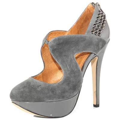 Grey suede and patent platform shoes
