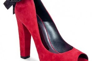 red suede peep toes