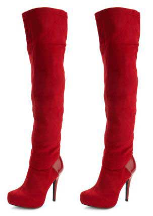 red thigh high boots Red suede effect thigh high boots from Charlotte Russe