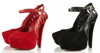 red suede platform shoes with cage heel