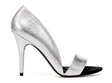 silver asymmetric sandals from Zara