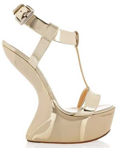 Sale Giuseppe Zanotti Heelless - 2011 12 Giuseppe Zanotti Metallic Leather Wedge Sandals