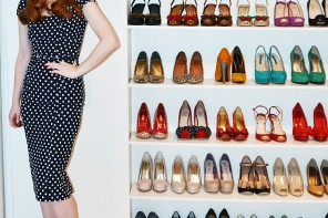 Red shoes polka dot dress