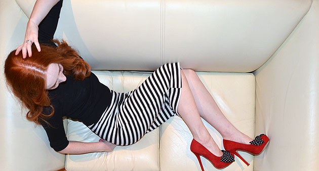 Shoeperwoman stripe skirt red shoes