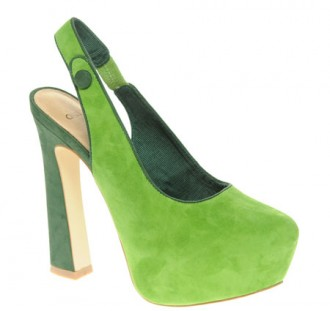 ASOS green suede slingback shoes