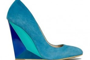 blue suede wedge shoes