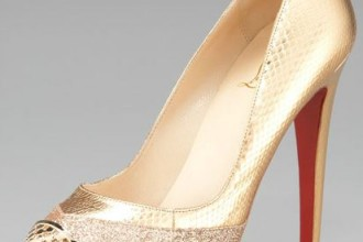 gold platform shoes by Christian Louboutin
