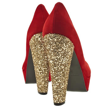 gold glitter heeled shoes