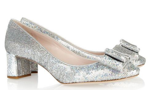 Miu Miu sequined leather pumps with low