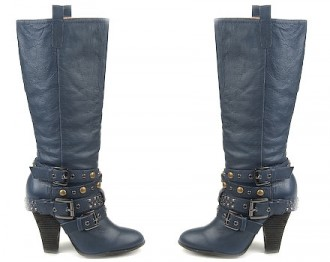 navy boots with buckles