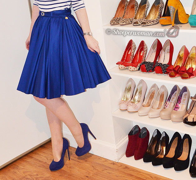blue skirt and shoes