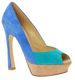 Aldo Bolus turquoise and blue colourblock peep toe shoes