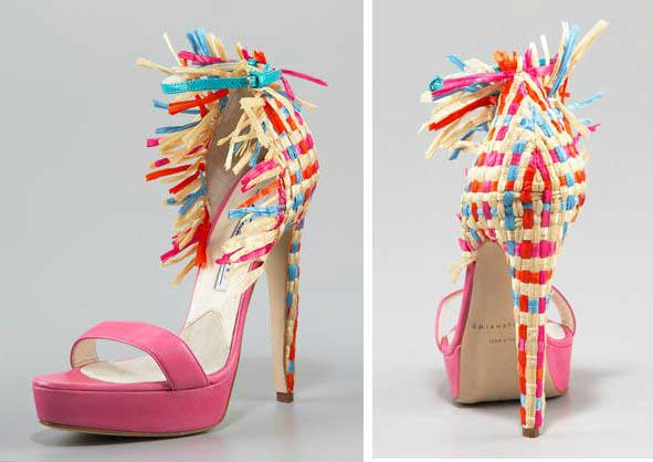 Brian Atwood colourblock raffia shoes