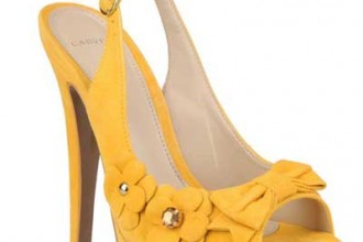 yellow suede slingback shoes
