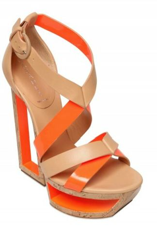 orange and tan wedge shoes