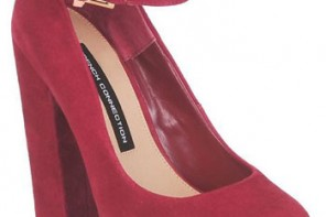 red suede platform shoes with ankle strap