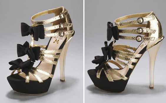 gold bow sandals