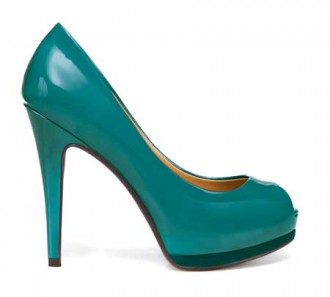 green patent peep toes