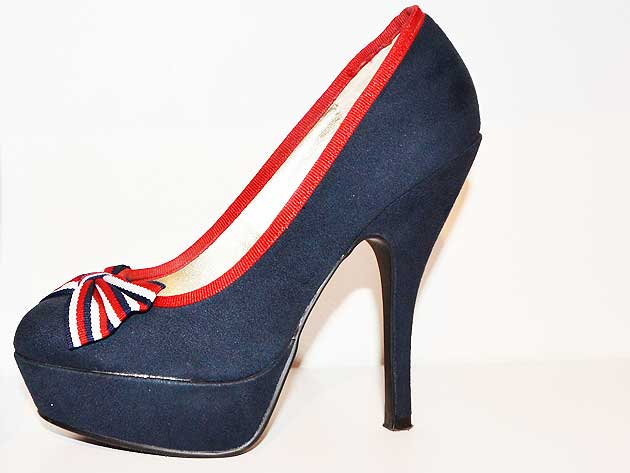 Navy platform court shoes