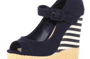 navy stripe wedge shoes