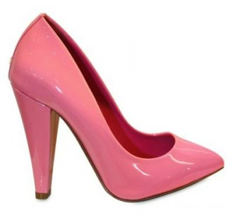 pink patent pumps