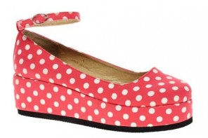 red polka dot platform shoes