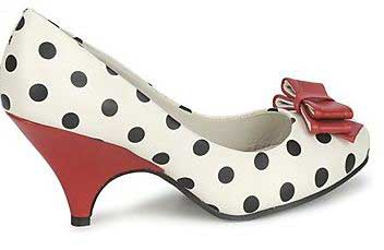 polka dot shoes with red bow