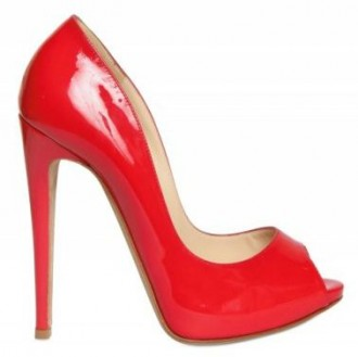 red patent peep toes