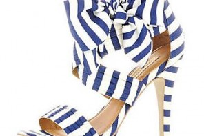 blue stripe bow sandals