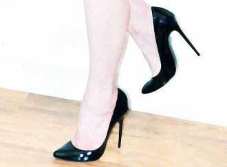 black shoes with high heels