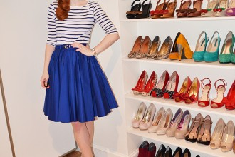 stripe top and blue skirt