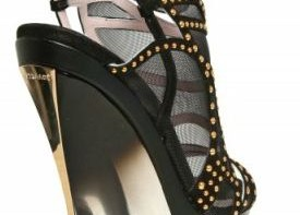 Versace suede and mesh wedges