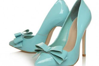 pale blue patent pumps with bows