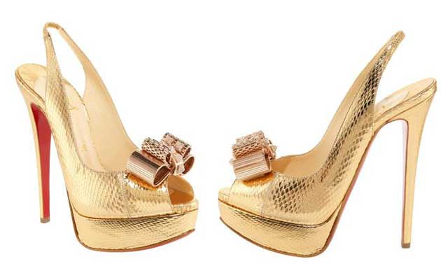 Christian Louboutin gold slingbacks