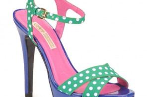 green polka dot platform sandals with blue platform